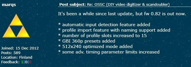 OSSC Firmware v0.82 Released