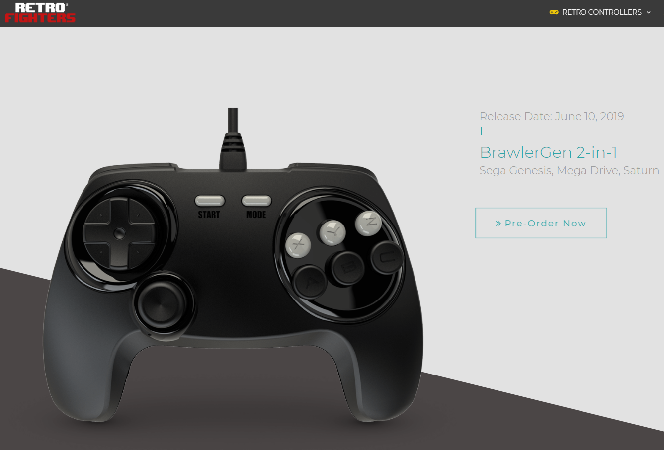 "Retro Fighter's Announced ""BrawlerGen"" – A Two-in-One Genesis/Mega Drive Saturn Controller"