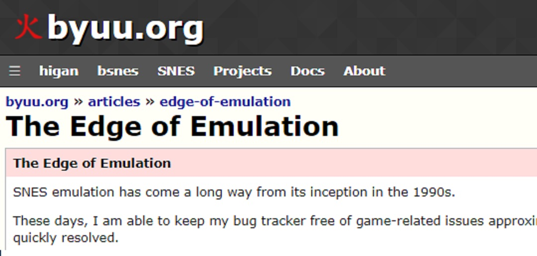 byuu's 'The Edge Of Emulation'